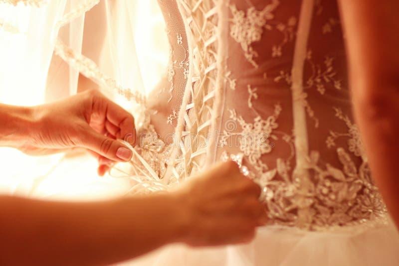 有新娘的礼服的按钮的女傧相 库存图片