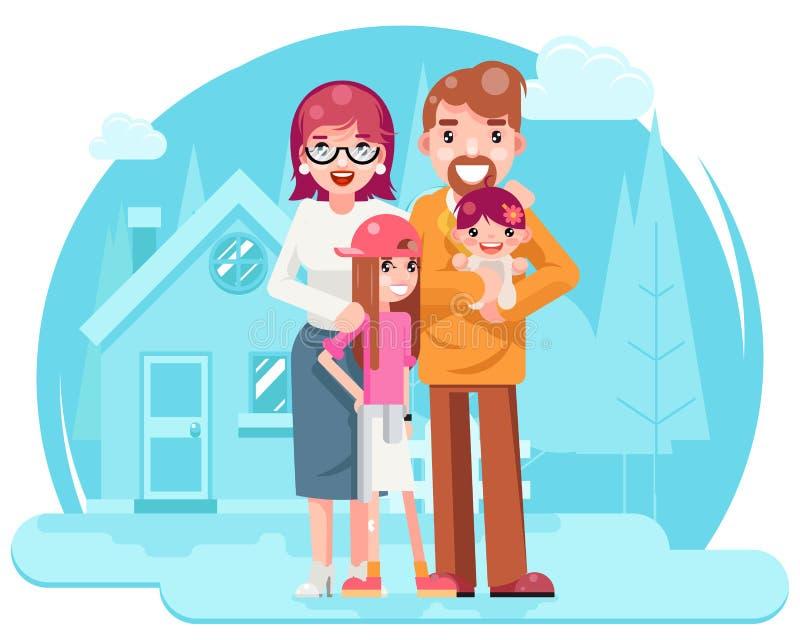 有新房房地产减速火箭的平的设计观念模板传染媒介的逗人喜爱的愉快的年轻家庭母亲父亲女儿 库存例证