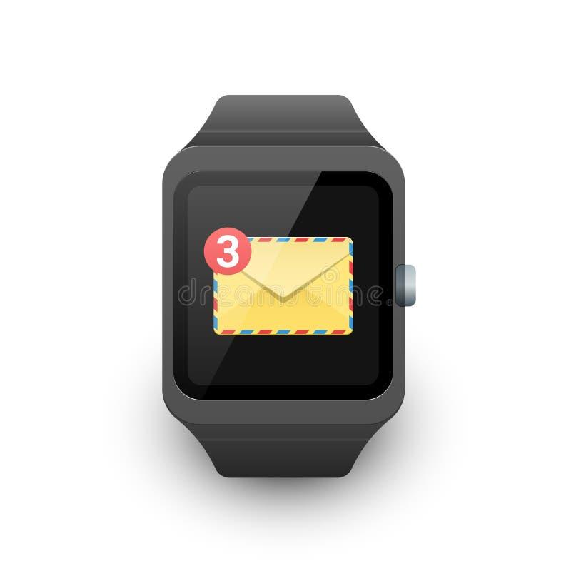 有新的消息通知的巧妙的手表在屏幕上 E 向量例证