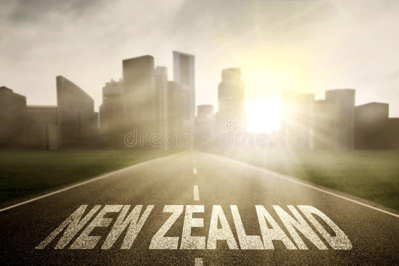 有新西兰的词的空的路 免版税库存图片