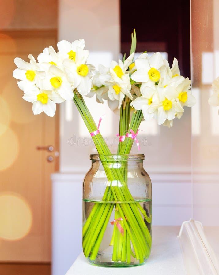有新鲜的白色黄水仙的玻璃瓶子 免版税库存图片