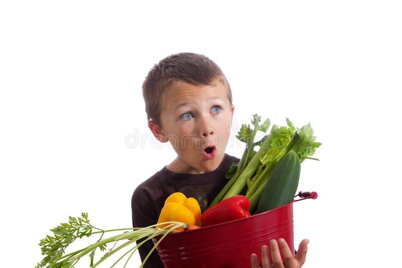 有新鲜蔬菜篮子的小男孩  免版税库存图片