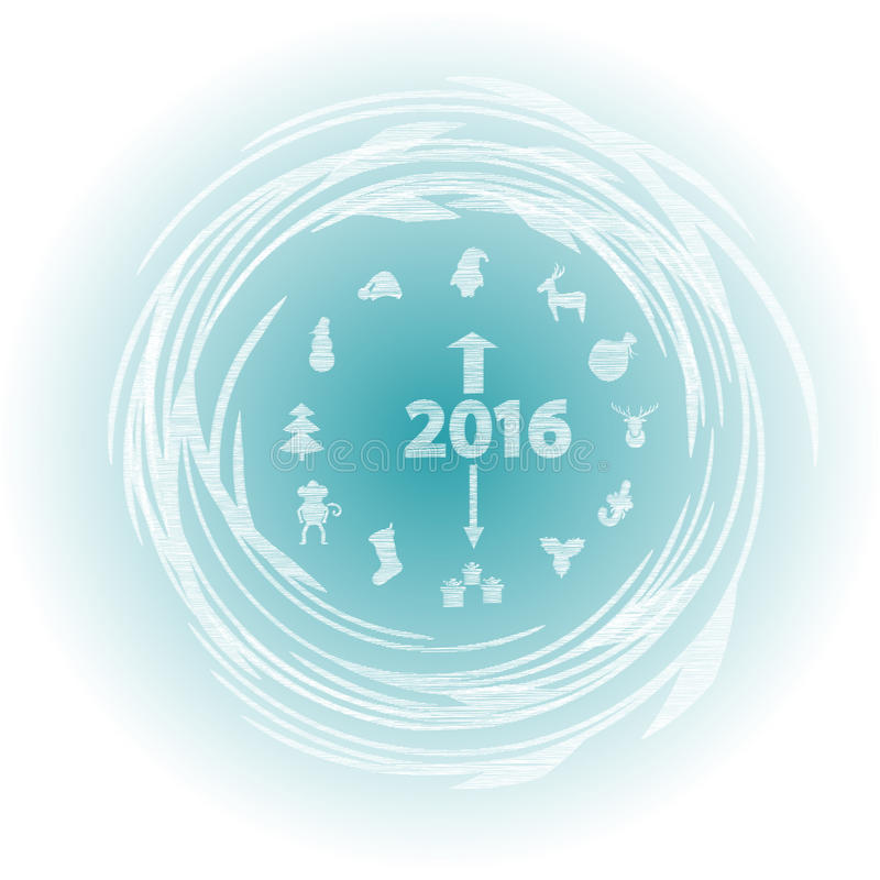 有新年的标志的新年时钟 向量例证
