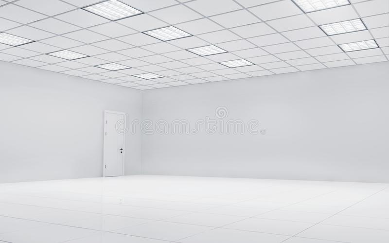 有方形的光的空的明亮的办公室室 3d翻译 皇族释放例证