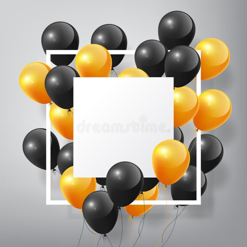 有方形的白色空白和框架的,在白色背景的万圣夜概念飞行的现实光滑的黑橙色气球 向量例证
