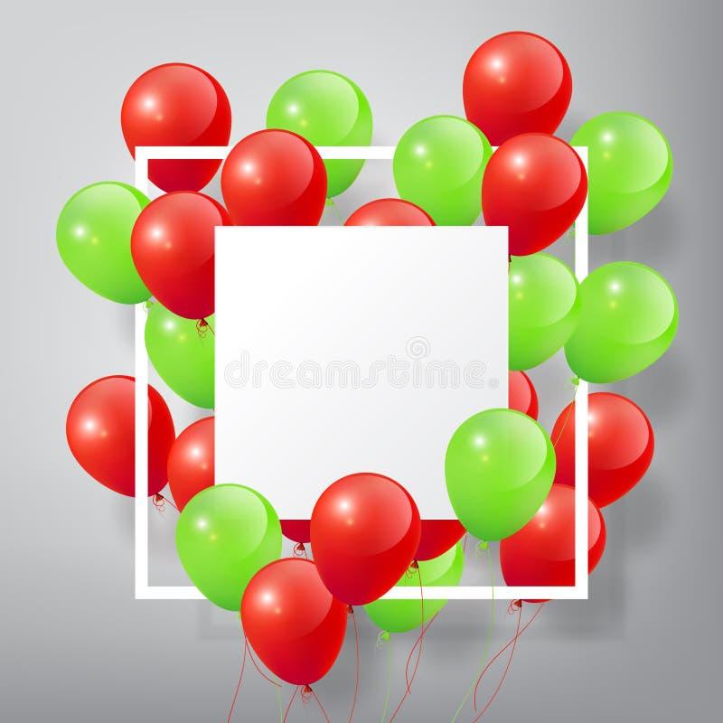 有方形的白色空白和框架的,在白色背景的圣诞快乐概念飞行的现实光滑的绿色红色气球 向量例证
