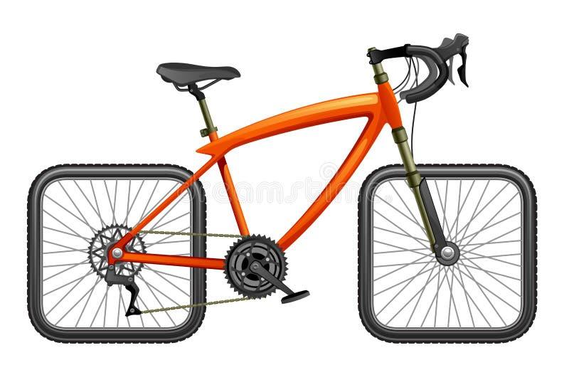 有方形的轮子的自行车 向量例证