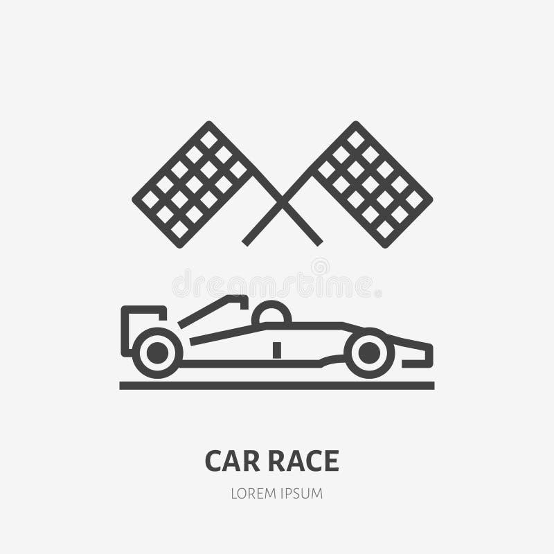 有方格的旗子平的线的象赛车 导航速度汽车竞争,体育汽车概述商标的标志 皇族释放例证