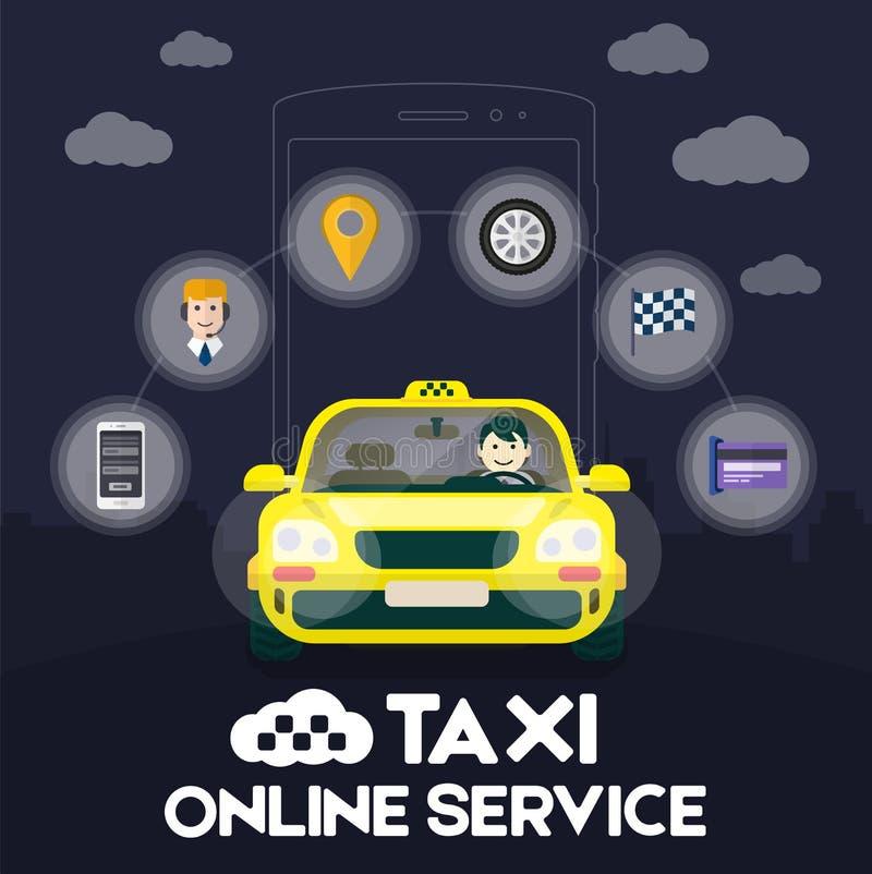 有旅行在路的司机的平的黄色出租汽车 向量例证
