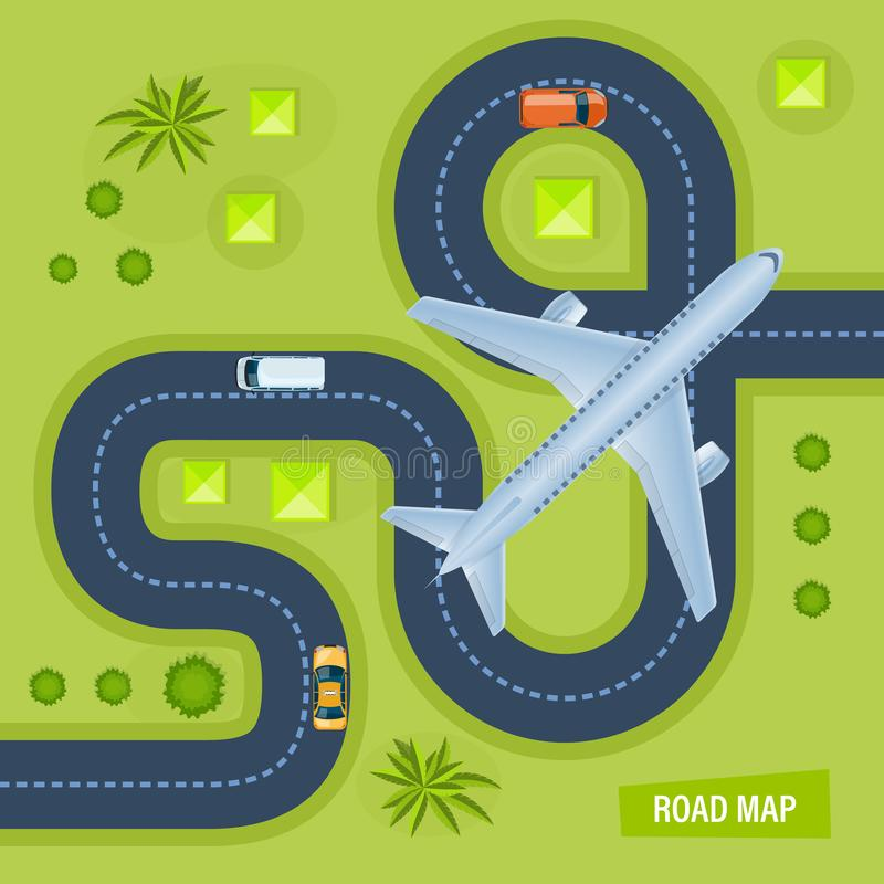 有旅行的运输的,周围的风景路,飞行飞机 向量例证
