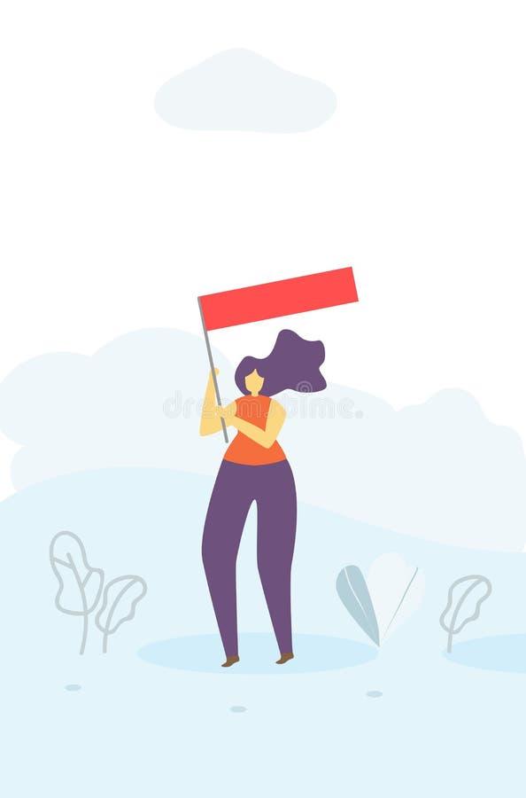 有旗子刺激平的横幅的鼓动的妇女 向量例证