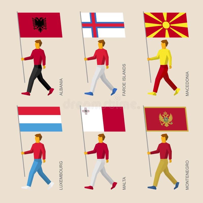 有旗子的人们-阿尔巴尼亚,法罗群岛,马其顿,卢森堡,马耳他,黑山 皇族释放例证