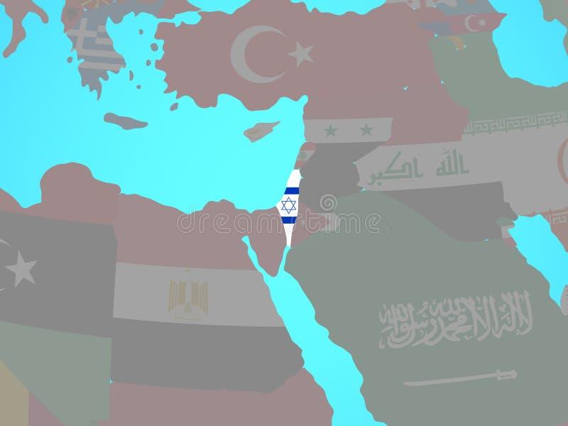 有旗子的以色列在地图 向量例证