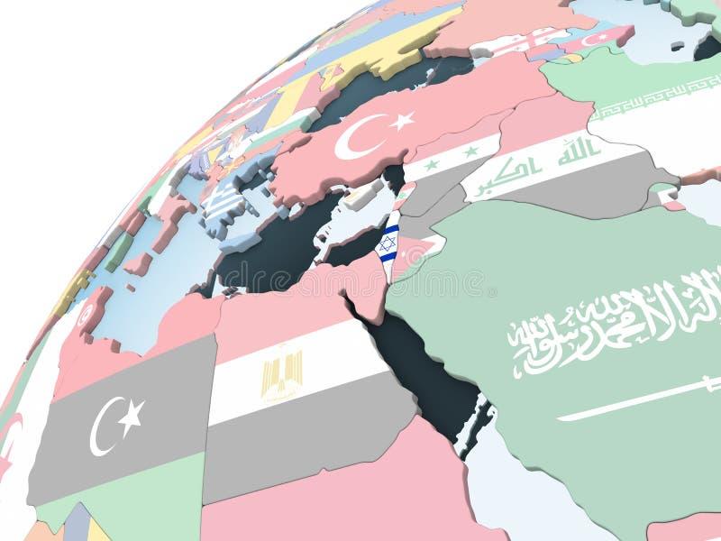 有旗子的以色列在地球 库存例证