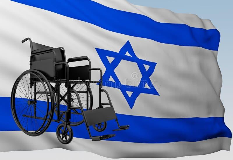 有旗子的以色列轮椅 库存例证