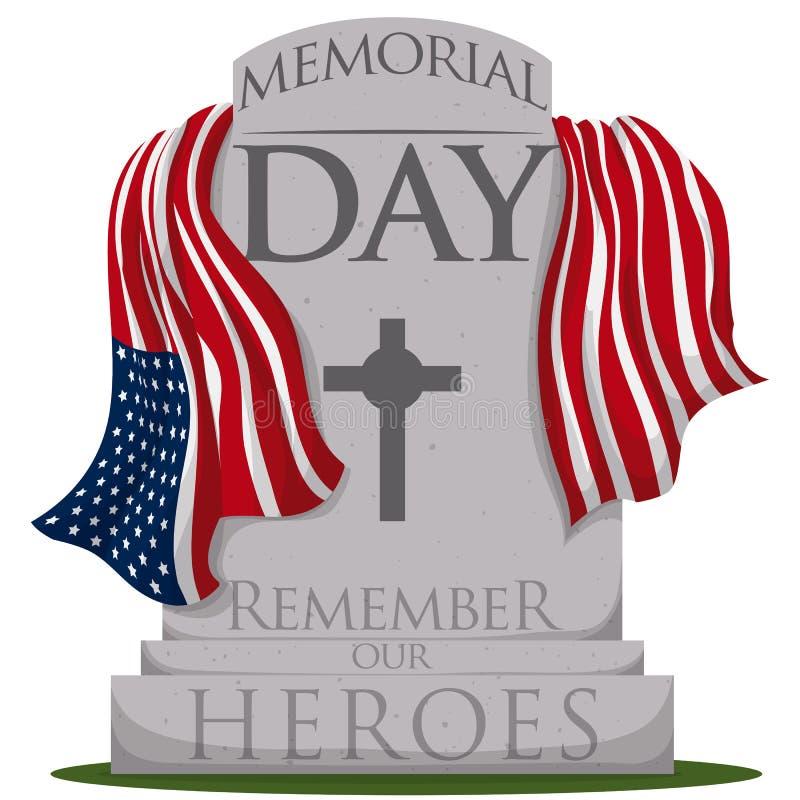 有旗子的传统墓碑为阵亡将士纪念日,传染媒介例证 向量例证