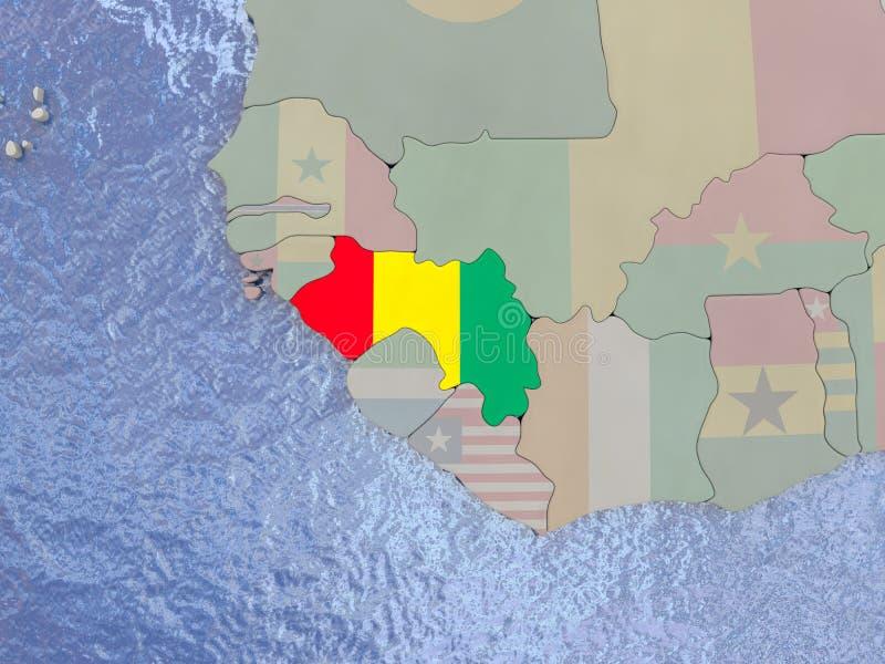 有旗子的几内亚在地球 库存例证