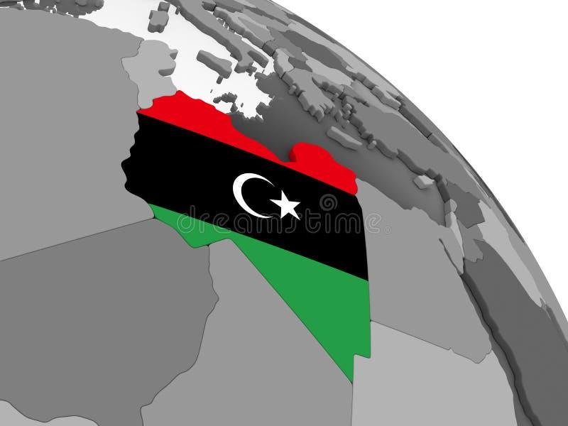 有旗子的利比亚在地球 向量例证