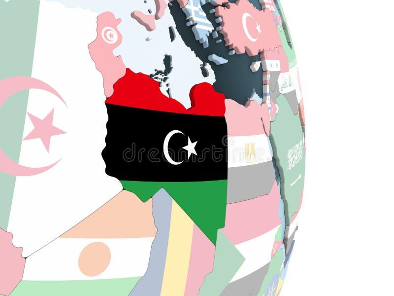有旗子的利比亚在地球 库存例证