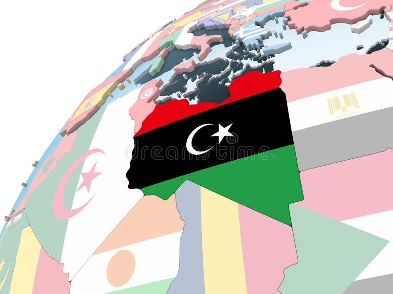 有旗子的利比亚在地球 皇族释放例证