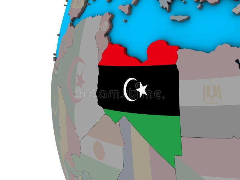 有旗子的利比亚在3D地球 库存例证