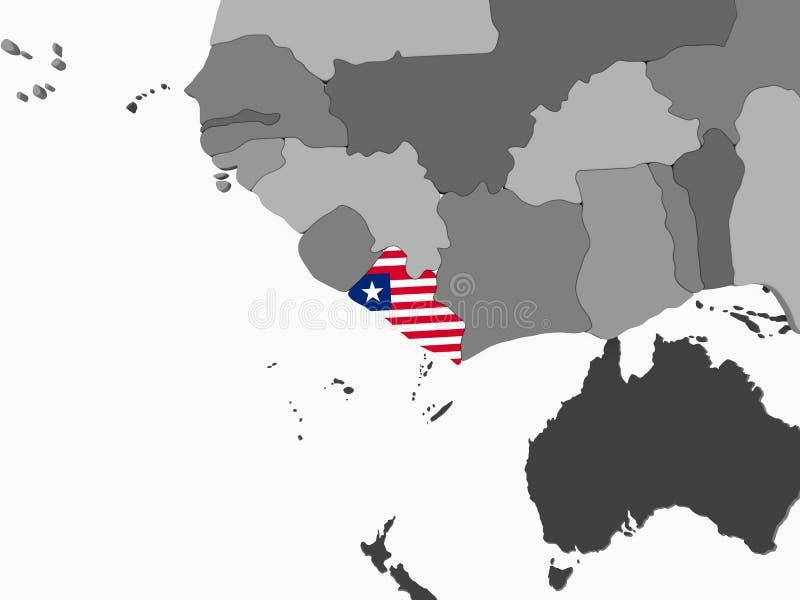 有旗子的利比里亚在地球 库存例证
