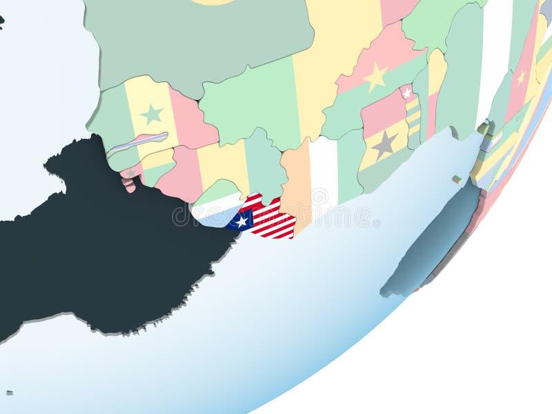 有旗子的利比里亚在地球 皇族释放例证