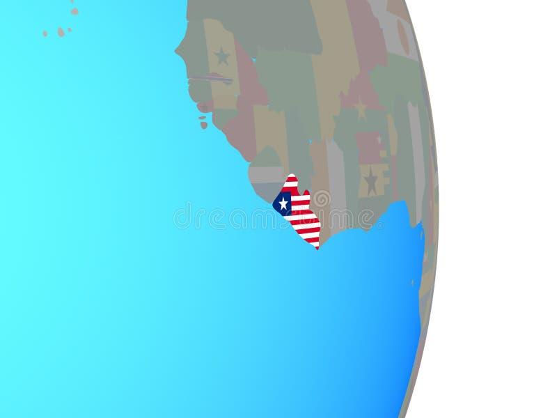 有旗子的利比里亚在地球 向量例证