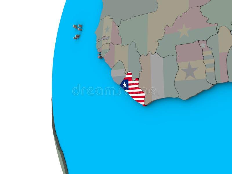 有旗子的利比里亚在3D地球 库存例证