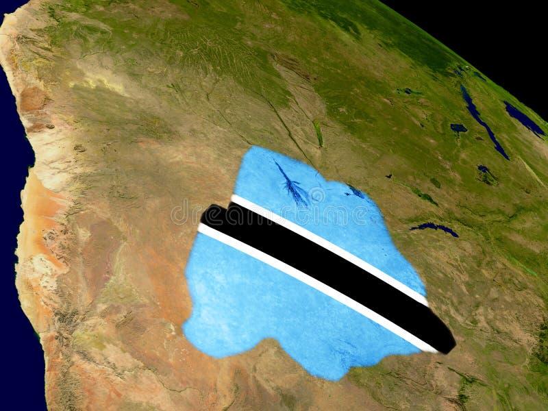 有旗子的博茨瓦纳地球上 库存例证