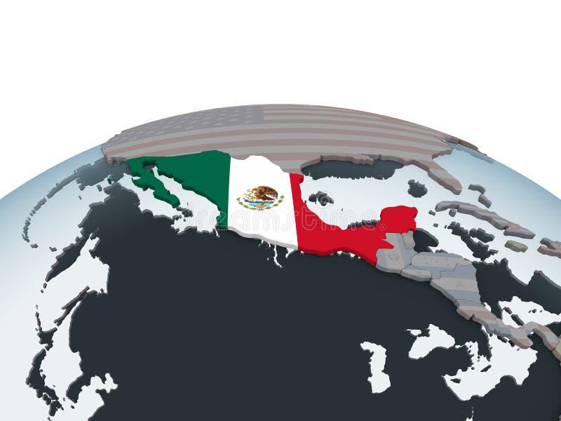 有旗子的墨西哥在地球 向量例证