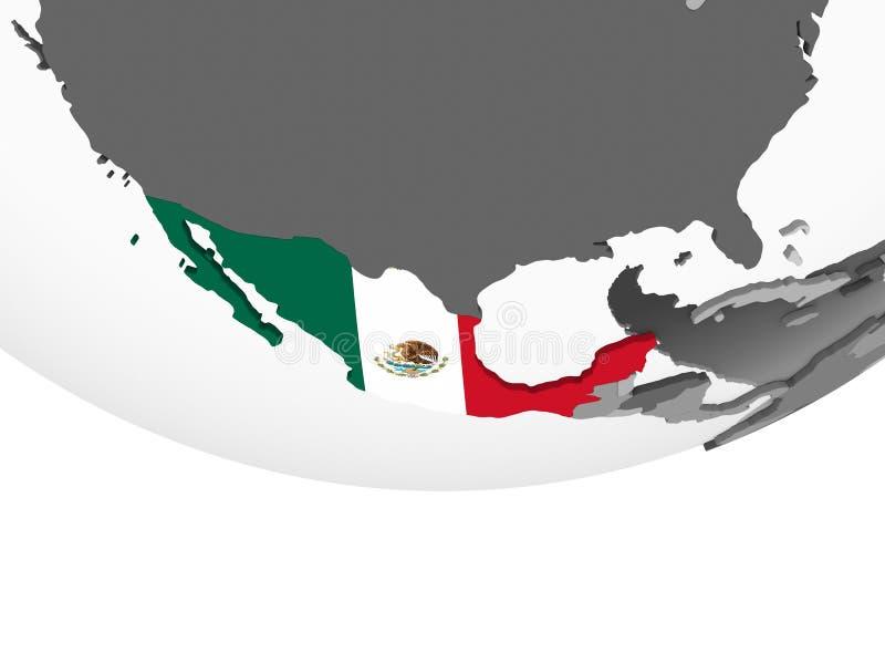 有旗子的墨西哥在地球 皇族释放例证