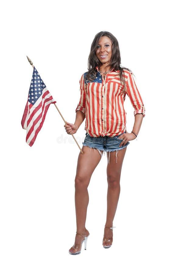 有旗子的妇女 免版税图库摄影