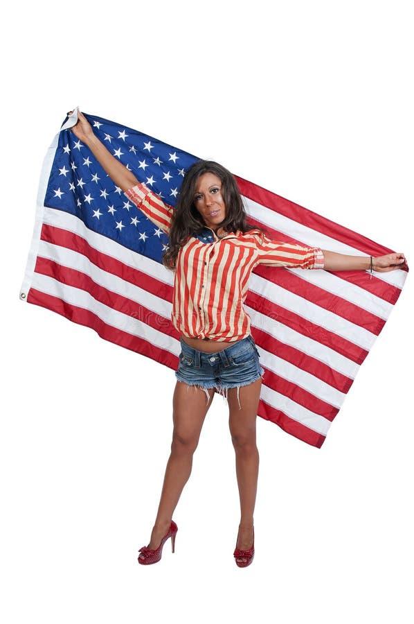 有旗子的妇女 库存图片