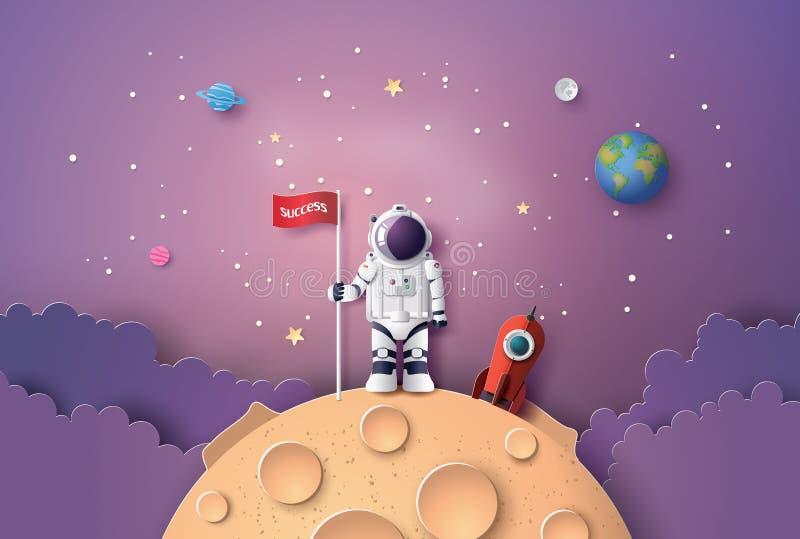 有旗子的宇航员在月亮 库存例证