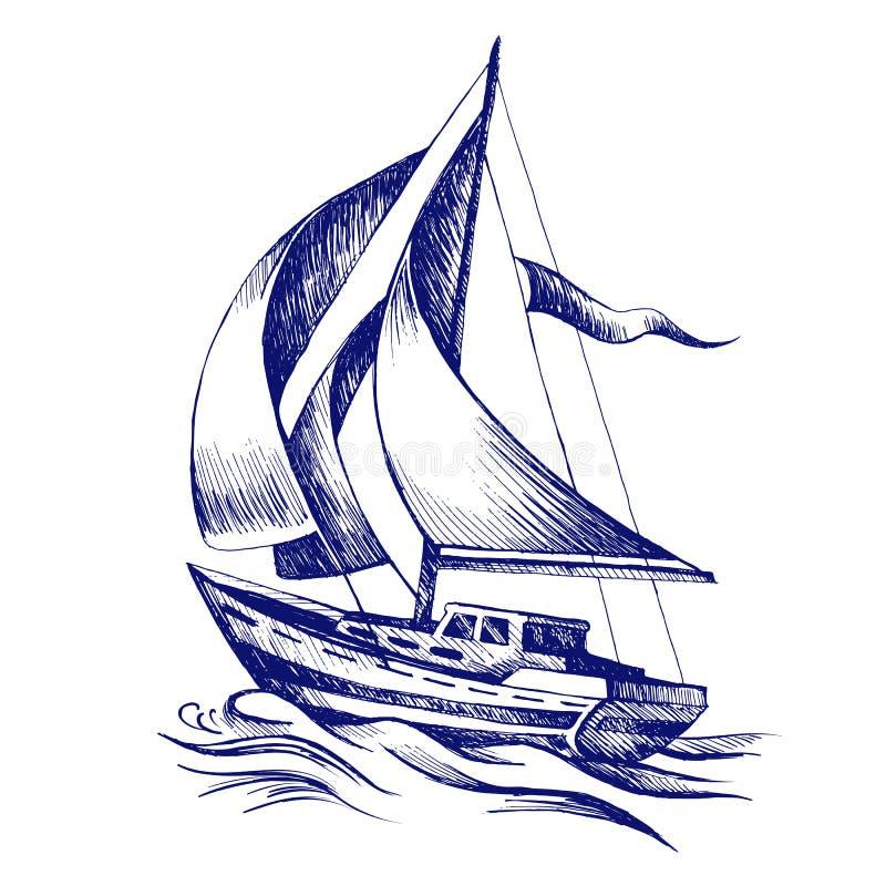 有旗子的帆船 库存例证