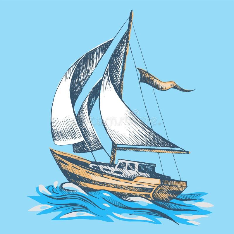 有旗子的帆船 向量例证