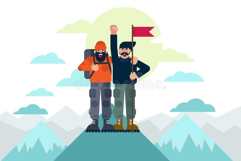 有旗子的快乐的登山家庆祝成功的在一起到达山上面以后 成功概念传染媒介 向量例证