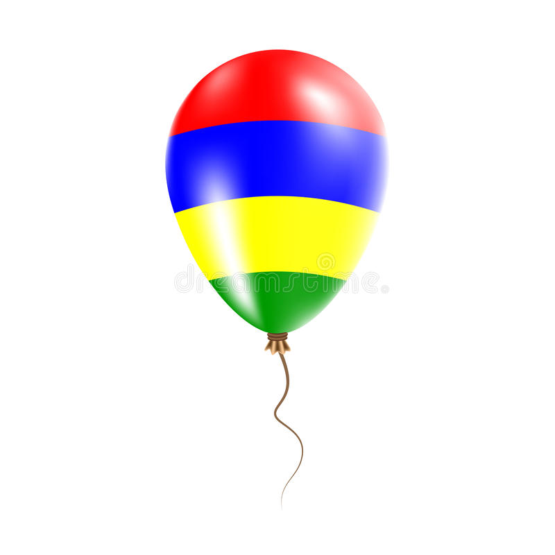 有旗子的毛里求斯气球 库存例证
