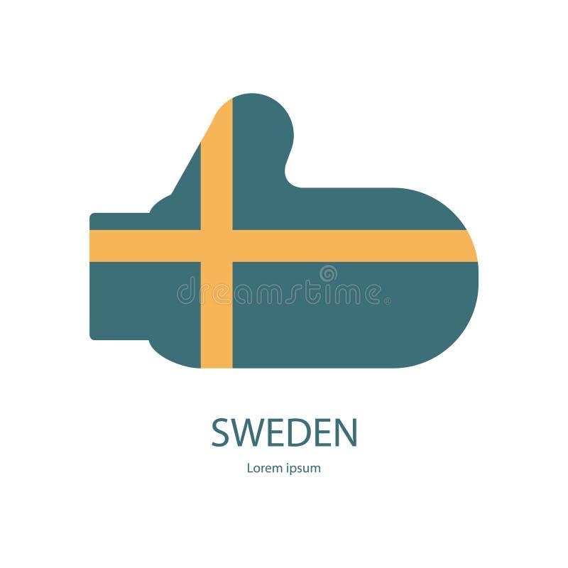 有旗子的瑞典手套 向量例证