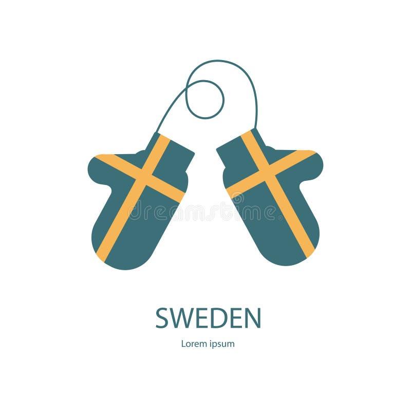 有旗子的瑞典手套 库存例证