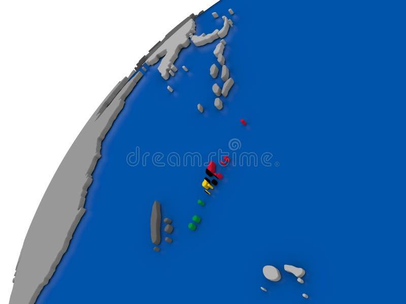 有旗子的瓦努阿图在政治地球 向量例证