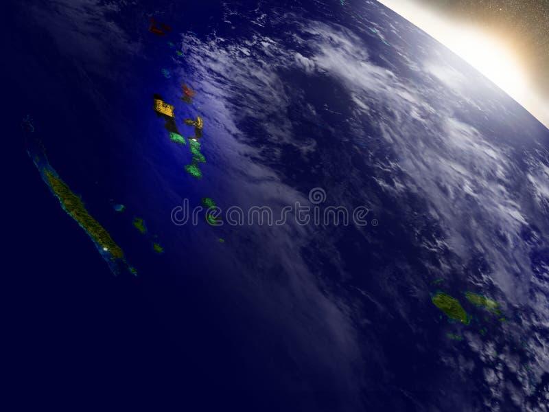 有旗子的瓦努阿图在朝阳 向量例证