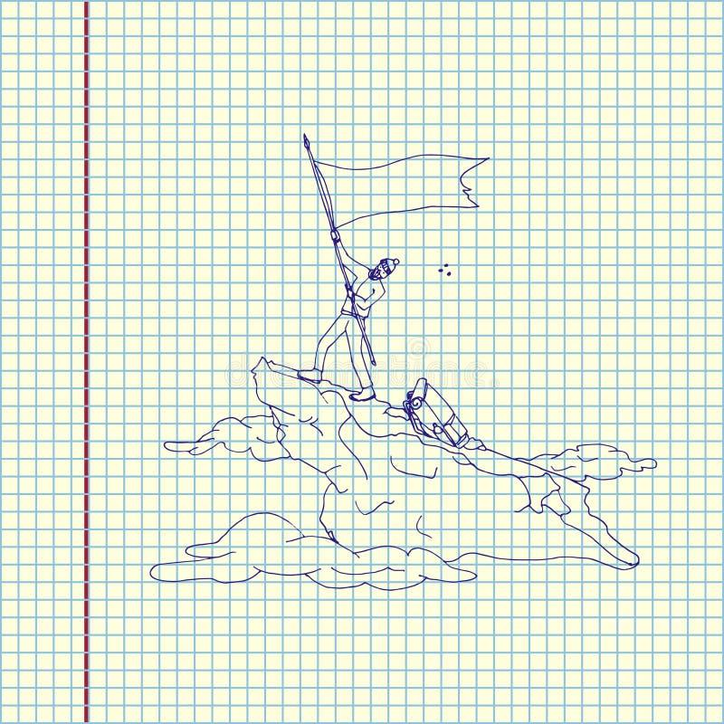 有旗子的登山家 库存例证