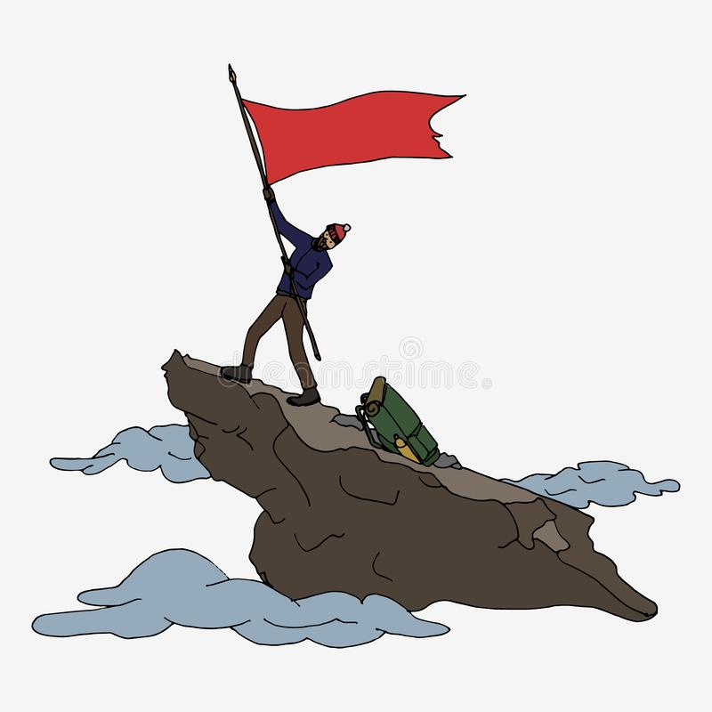 有旗子的登山家 皇族释放例证