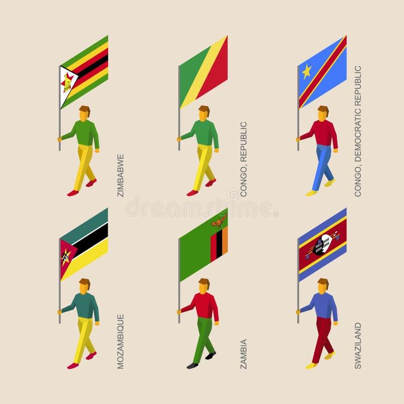 有旗子的等量人:津巴布韦,赞比亚,莫桑比克 向量例证