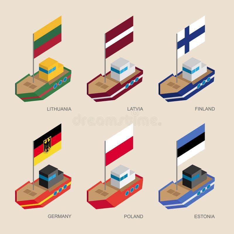 有旗子的等量船:德国,拉脱维亚,爱沙尼亚,立陶宛, 库存例证
