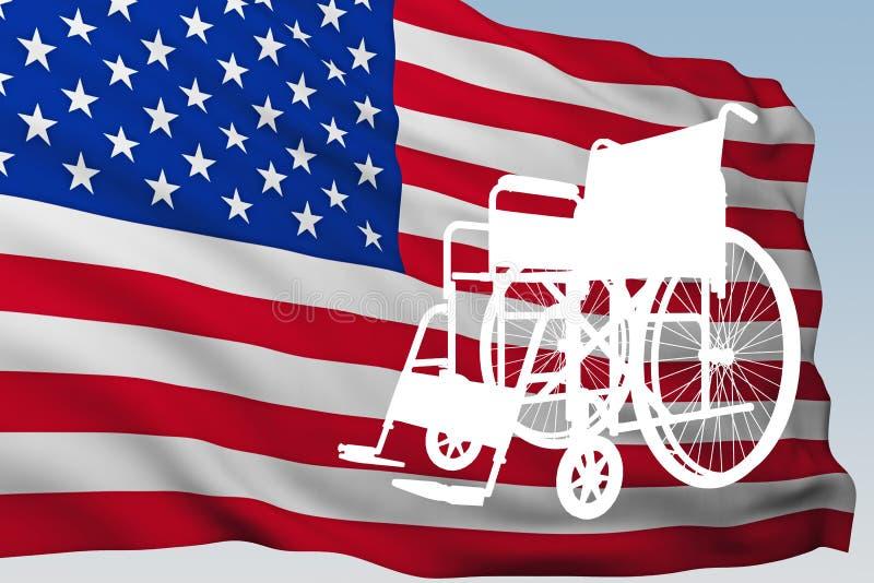 有旗子的美国剪影轮椅 库存例证