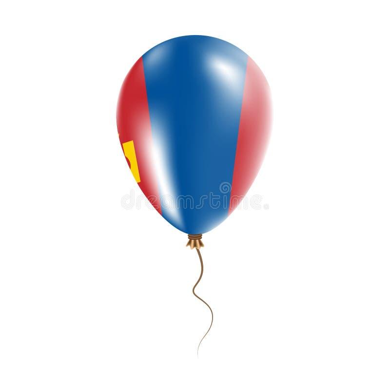 有旗子的蒙古气球 向量例证