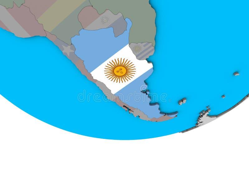 有旗子的阿根廷在地球 库存例证
